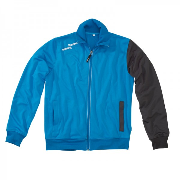 a blue Track top