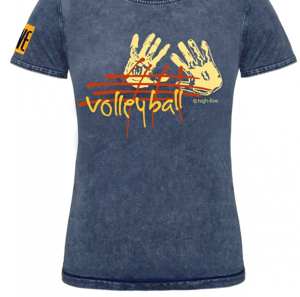Denim T-Shirt Netblock Damen